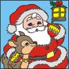 Colorea a Papa Noel con el pequeño Reno
