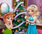 Preparación de la sala de Navidad de las hermanas